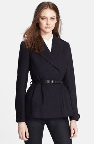 'drumleigh' wool blend short wrap coat burberry brit - navy for Sale in Los Angeles, CA