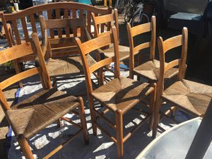 Solid wood patio chairs, in great condition 6 of them, table, shade with base, and bbq grill for Sale in Del Rey, CA
