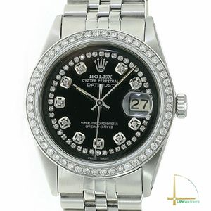 Rolex Mens Datejust Watch Stainless Steel Black Diamond Dial & Bezel 36mm for Sale in Westminster, CA