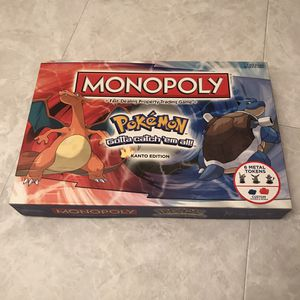 Pokemon Monopoly Kanto Edition Board Game Complete In Box All Pieces Counted for Sale in Burtonsville, MD