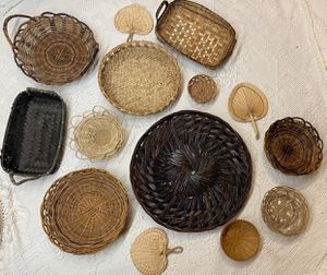 Boho black accent wicker wall baskets for Sale in Puyallup, WA