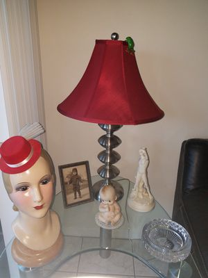 Beautiful lamp w/red shade for Sale in Fort Lauderdale, FL