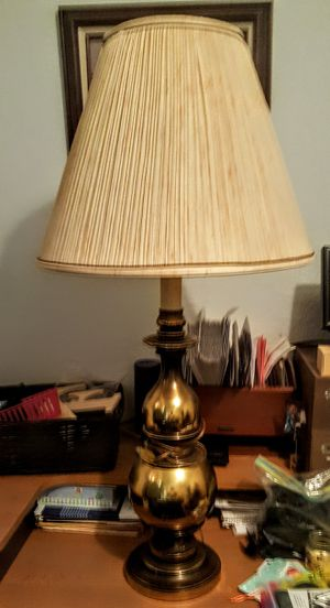 30 in brass lamp tan shade for Sale in Noble, OK