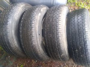 Like new 225 75 R15 load range d trailer tires and wheels for Sale in Tyner, NC