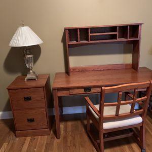 Oak Desk & File Cabinet for Sale in Buford, GA