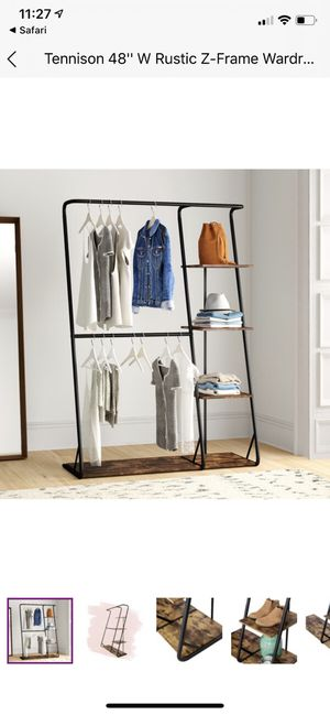Honey Can Do Rustic Z-Frame Wardrobe Rack with 4 Shelves for Sale in Mountain View, CA