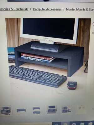 Way Basics eco-friendly two shelf computer monitor stand Riser black wood grain for Sale in Peoria, IL