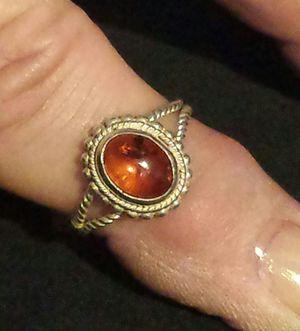 Genuine Orange Amber Sterling Silver Ring for Sale in Lawrenceville, GA