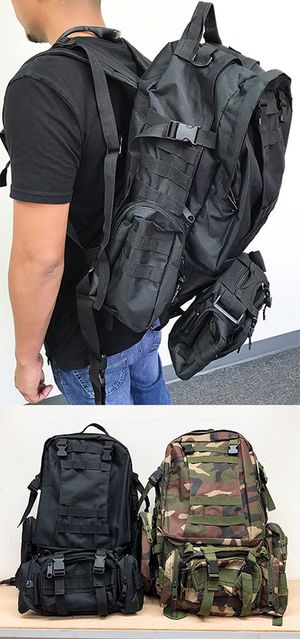 (NEW) $25 each 55L Outdoor Sport Bag Camping Hiking School Backpack (Black or Camouflage) for Sale in Whittier, CA