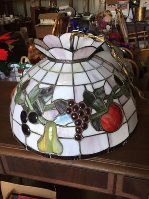 Wonderful vintage stained glass hanging lamp with fruit for Sale in Scappoose, OR