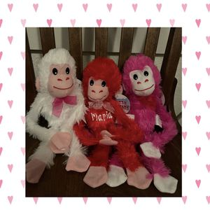 Valentines Day Plush Monkeys Custom With Name for Sale in Turlock, CA