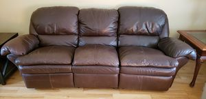 Leather reclining couch, loveseat and ottoman for Sale in Portland, OR