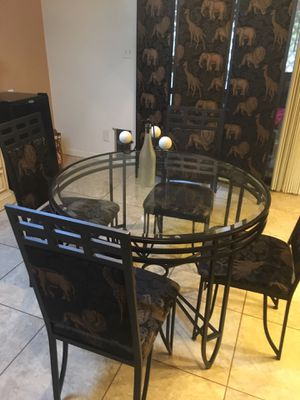 """Safari/animal print room partition, 42"""" glass table and 4 chairs. for Sale in Phoenix, AZ"""