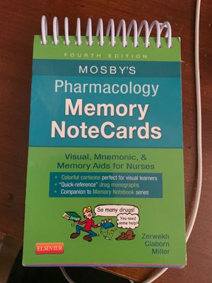 Mosby's pharmacology memory notecards for Sale in Los Angeles, CA