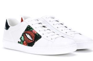 Gucci Ace Lip-embroidered Leather Lowtop Sneakers for Sale in Miami Beach, FL