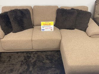 **SALE** Small Brown Sofa With Chaise. Add On Coffee Table Set For Only $149. Easy Approval. ONLY $50 DOWN & Delivery Today🚚!!! for Sale in Tampa,  FL