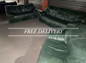 Green leather sofa loveseat and chair( FREE DELIVERY ) for Sale in Sherwood, OR