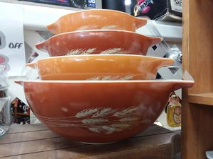4pc Pyrex Autumn Harvest Cinderella mixing bowls! Credit cards accepted 😁 for Sale in Joliet, IL
