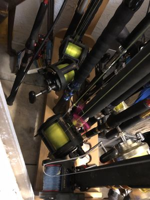 Star rods and penn a mix reels lot with stand and 2 gaffs for Sale in Lake Worth, FL