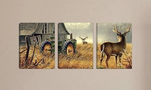 Canvas Wall Art Print Painting Picture Deer Country Wildlife Hunting Brown Themed Landscape 3 Panels Modern Artwork for Living Room Bedroom Bathroom for Sale in Los Angeles, CA