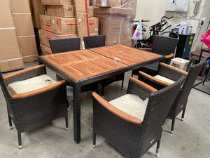 7PCS Patio Rattan Dining Set Stackable Chairs Cushioned Acacia Wood Table Top for Sale in Walnut, CA