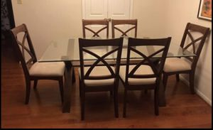 Glass top dining table with six chairs for Sale in Fairfax, VA