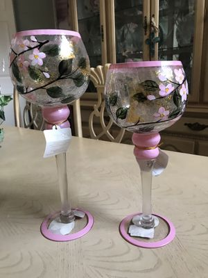 Set of painted candle holders for Sale in Dallas, TX