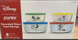 NEW 8-pc PYREX Disney MICKEY MOUSE 4 Cup Glass STORAGE BOWL SET w/Covers. for Sale in Davie, FL