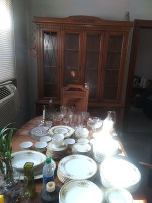 Antique wood China cabinet, wood table 6 chairs for Sale in East Chicago, IN