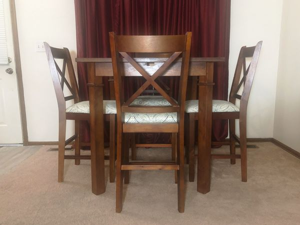Nice Pub Height Style Wood Dining Table & 4 Chairs Set