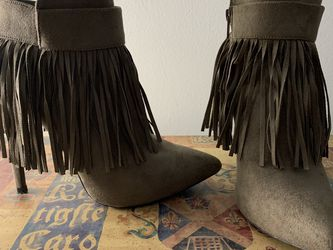 Light Brown Fringe Ankle Boots (with Heels) for Sale in Springfield,  VA