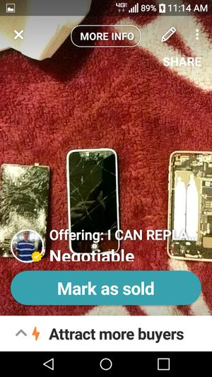 I CAN REPLACE CRACKED SCREENS FOR IPHONES,IPODS ANY PHONE I CAN REPLACE BATTERIES I CAN REPLACE YOUR SIMS CARD HOLDER ETC.ETC. for Sale in Montgomery, AL