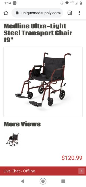 Medline lightweight transfer chair... $200 in stores for Sale in Independence, MO