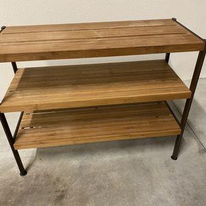 3 Shelf Bamboo/metal Shoe Rack, Great Shape for Sale in Beaverton, OR