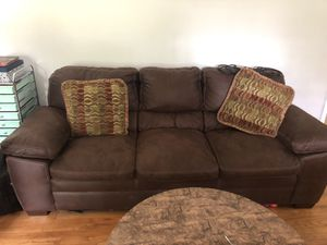 Chocolate couches coffee table and side tables get today (Saturday) it's yours for 350 for Sale in Warner Robins, GA