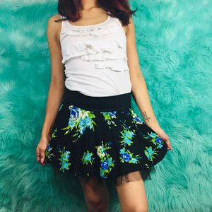 Black & blue floral print mini skirt with black tulle for Sale in Amarillo, TX