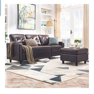 Convertible Sectional Sofa Couch Leather L-Shape Couch with Modern Faux Leather Sectional for Small Space Apartment Brown for Sale in La Puente, CA