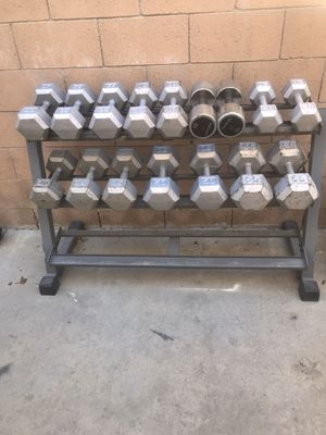 20 to 55 hex dumbbells with rack for Sale in Burbank, CA
