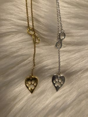 Infinity and heart with dog paw Necklace for Sale in Santa Ana, CA