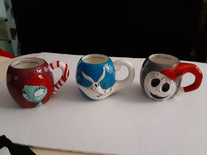 Disney Nightmare Before Christmas Coffee Mugs Jack Sally and Zero Set Of 3 for Sale in Miami, FL