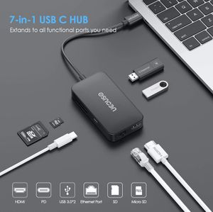 USB C HUB, 7-in-1 Type c Multiport Adapter to Gigabit Ethernet RJ45, 4K HDMI,PD Charging Port,2 USB 3.0 and SD/TF Card Reader Compatible for Sale in Wausau, WI