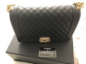NEW Chanel Medium Boy Bag | Black Caviar Leather | Gold Hardware for Sale in Silver Spring, MD