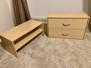 Wooden bedroom storage: stackable 2 ft wide shelves and drawers / cabinet / nightstand living furniture for Sale in Phoenix, AZ
