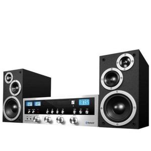 Innovative Technology Classic Retro Bluetooth Stereo System with CD Player, FM Radio, Aux-In, and Headphone Jack, Silver and Black for Sale in Mountain View, CA