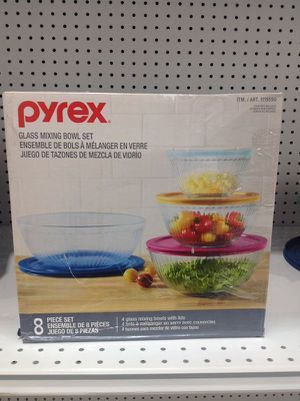 Pyrex Glass Mixing Bowl Set 8 Pcs Juego de Tazones de Vidrio para Mezclar for Sale in Miami, FL