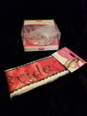 'Bride To Be' Tiara w/ veil & Sash for Sale in Arlington, VA