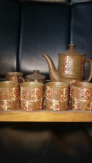Japanese Clay Hand painted Tea Set w/ tray for Sale in Fairfax, VA