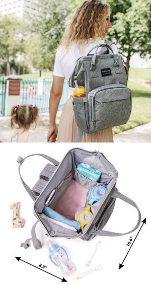 NEW BabyGo backpack waterproof travel diaper bag baby care grey color for Sale in Whittier, CA