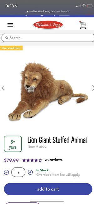 Lion Giant Stuffed Animal. for Sale in New York, NY