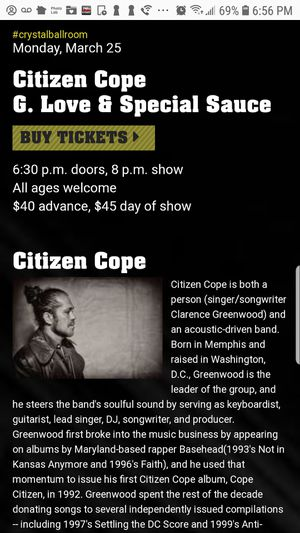 Free tickets citizen cope for Sale in Portland, OR